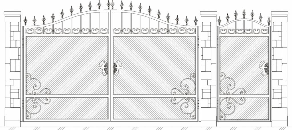 Распашные ворота своими руками чертежи схемы эскизы конструкция фото 89